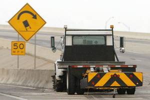 Photo - A view of a mobile traffic attenuator that sits at the barrier dividing I-40 east and I-35 north in Oklahoma City, Wednesday, September 22, 2010. Photo by Nate Billings, The Oklahoman ORG XMIT: KOD