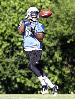 "Photo - Detroit wide receiver and former Oklahoma star Ryan Broyles says his knee is ""100 percent to get out there and practice."" AP PHOTO"