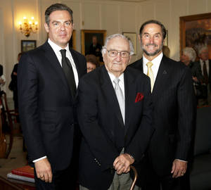 Photo - Governor's Arts Awards recipients Christian Keesee, chairman of the Kirkpatrick Foundation and president of the Kirkpatrick Family Fund, at left, Tulsa architect Charles Ward, and University of Central Oklahoma President Don Betz were honored Thursday at the Governor's Arts Awards presentation at the Oklahoma State Capitol. Photo by Bryan Terry, The Oklahoman