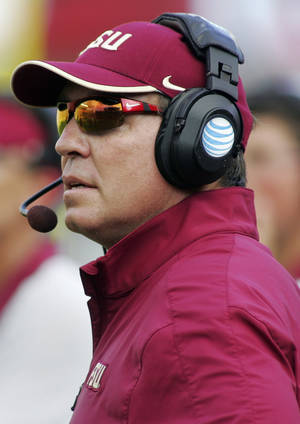 Photo -   Florida State head coach Jimbo Fisher watches from the sideline in the first half of an NCAA college football game against Murray State, Saturday, Sept. 1, 2012, in Tallahassee, Fla. (AP Photo/Phil Sears)