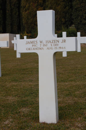 Photo - Marker for grave of Pfc. James W. Hazen Jr. of Ponca City. <strong>Scott Desjardins - American Battle Monuments Commission.</strong>