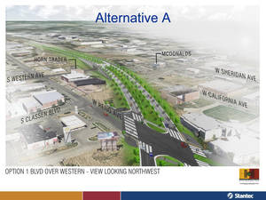 photo - This view shows consultants' recommended design of the western section of the future Oklahoma City Boulevard, shown here in a drawing looking west. The boulevard would be raised over Western Avenue, but at-grade by Reno Avenue to the east. <strong>PROVIDED - City of Oklahoma City</strong>