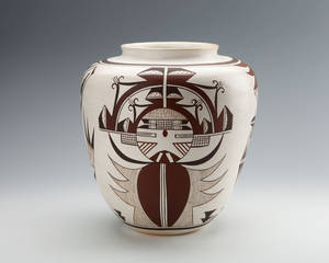 Photo - Frog Woman by Joy Navasie, (U.S., Hopi, [Tewa], b. 1919). Ceramic jar (Palhikmana), 11 x 10 x 5 ½ in., gift of Dr. and Mrs. R.E. Mansfield, 2003. Photo provided.   <strong></strong>