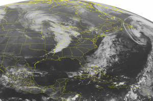Photo -   This NOAA satellite image taken Thursday, Oct. 17, 2012 at 1:45 a.m. EDT shows a line of strong and severe thunderstorms along a cold front moving into the Ohio and Tennessee Valleys. A warm front extends across the northern Great Lakes to New York with areas of showers and rain. Scattered showers and thunderstorms are near the Florida Keys. (AP Photo/Weather Underground)