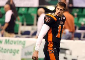 Photo - Utah Blaze quarterback Tommy Grady leaves the field after a football game against the San Antonio Talons at the Energy Solutions Arena in Salt Lake City on Saturday, May 26, 2012. Photo by Kristin Murphy, Deseret News