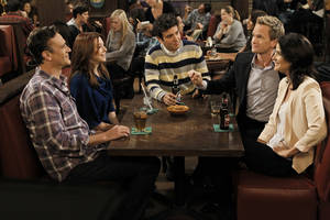 "Photo - This undated image released by CBS shows, from left, Jason Segel, Alyson Hannigan, Josh Radnor, Neil Patrick Harris and Cobie Smulders in a scene from ""How I Met Your Mother."" The sitcom will air its ninth and final season next fall and will at last answer the question about who the mom is, the network said Wednesday, Jan. 30, 2013. That would be the mystery woman with whom Ted, played by Josh Radnor, ultimately has a family.  (AP Photo/CBS, Cliff Lipson)"