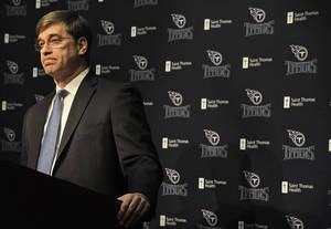 Photo - Tennessee Titans general manager Ruston Webster addresses the media during an NFL football news conference announcing the firing of coach Mike Munchak Saturday, Jan. 4, 2014, in Nashville, Tenn. (AP Photo/The Tennessean, John Partipilo)  NO SALES