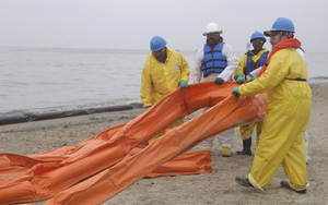 Photo - An oil spill clean up crew drags a boom along East Beach in Galveston, Texas, Monday, March 24, 2014. Thousands  of gallons of tar-like oil spilled into the major U.S. shipping channel after a barge ran into a ship Saturday. (AP Photo/Pat Sullivan)