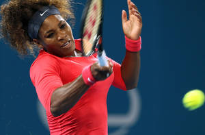photo - Serena Williams of the United States plays a shot during her quarterfinal match against her compatriot Sloane Stephens at the Brisbane International tennis tournament held in Brisbane, Australia, Thursday, Jan. 3, 2013.  (AP Photo/Tertius Pickard)