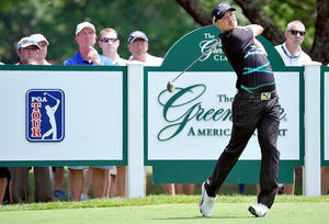 Photo - Jonas Blixt tees off on the ninth hole during the first round of the Greenbrier Classic golf tournament at the Greenbrier Resort in White Sulphur Springs, W.Va., Thursday July 3, 2014  (AP Photo/Chris Tilley)