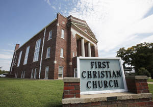 photo - First Christian Church (Disciples of Christ) in Holdenville is shown in 2010 before it closed. The New Covenant Ministries now occupies the building. Photo by David McDaniel, The Oklahoman Archives