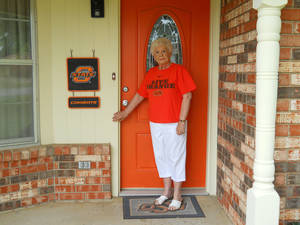 photo - Oklahoma State fan Jo Lee Foster had quite the  adventure trying to see her Cowboys play against Arizona on Saturday. PHOTO PROVIDED