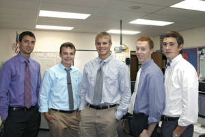 Photo - These 2013 graduates of Southwest Christian Academy won National Merit scholarships. From left are Trevor Carmack, Garrett Lessman, Christian Hagan, James Burton and Seth Brown. Photo provided by Steve Lessman <strong></strong>