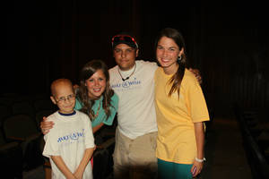 Photo - Wish kids Jacob and Hunter are shown with Wish Week chai Allie Wilson, of Edmond, and co-chair Libby Mitchell, of Heritage Hall. Chi Omega sorority at OSU raised $60,134 for Oklahoma Wish Kids. (Photo provided)