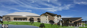Photo - This artist's rendering shows the proposed Mathena Family Event Center, Thompson Family Lodge and Jordan Welcome Center, all part of a  $12 million Falls Creek Baptist Conference Center expansion project officially unveiled at the recent Baptist General Convention of Oklahoma annual meeting in Broken Arrow. Image provided <strong></strong>
