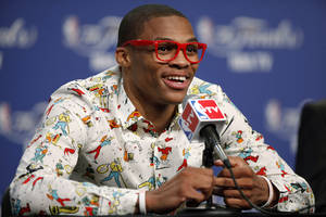 Photo - Oklahoma City's Russell Westbrook smiles during a press conference after Game 1 of the NBA Finals between the Oklahoma City Thunder and the Miami Heat at Chesapeake Energy Arena in Oklahoma City, Tuesday, June 12, 2012. Photo by Bryan Terry, The Oklahoman