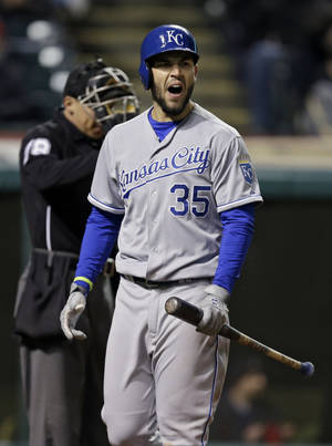 Kansas City Royals' Eric Hosmer reacts after being called out on strikes with two runners on base in the seventh inning of a baseball game against the Cleveland Indians, Wednesday, April 23, 2014, in Cleveland. The Indians won 5-3. (AP Photo/Mark Duncan)