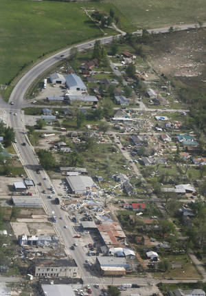 Photo -  Damage shows the path of a tornado that tore through Quapaw on April 28. The tornado was the strongest of seven twisters in Oklahoma since January 1. AP Photo  <strong>Orlin Wagner -   </strong>