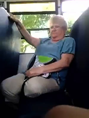 Photo -   In this cellphone video image taken from YouTube via AP video, bus monitor Karen Klein reacts to several seventh-grade students mercilessly taunting her on a bus, Monday, June 18, 2012, in Greece, N.Y. Since the video has gone viral, small donations for Klein from around the world have poured into the crowd-funding site indiegogo.com, at one point crashing the site and pulling in a staggering $443,057 by early Friday, June 22, 2012. (AP Photo/YouTube via AP video)