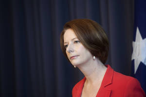 photo -   Australian Prime Minister Julia Gillard holds a press conference after winning a leadership challenge in Canberra, Australia, Monday, Feb. 27, 2012. Gillard easily won an internal party vote Monday against the colleague she deposed two years ago, Kevin Rudd, and declared that she had put down the internal strife that has undermined her unpopular government for months. (AP Photo/Andrew Taylor)