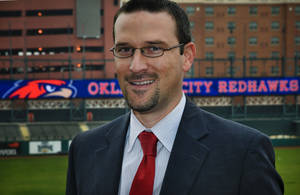 photo - Michael Byrnes, president of the Oklahoma City RedHawks, at the Chickasaw Bricktown Ballpark. <strong>CHRIS LANDSBERGER - CHRIS LANDSBERGER</strong>