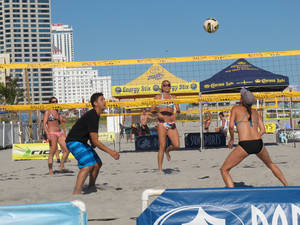 Photo - In this Sept. 6, 2013 photo, beachgoers play volleyball on the Atlantic City N.J. beachfront before a national pro volleyball tour began there. That tour will return again this summer, along with many other free activities that don't involve gambling. (AP Photo/Wayne Parry)