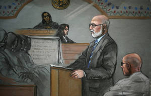 "Photo - In this courtroom sketch, James ""Whitey"" Bulger, right, listens to his defensive attorney, J.W. Carney Jr., during closing arguments at U.S. District Court, in Boston, Monday, Aug. 5, 2013. Bulger's lawyers used their closing arguments to go after three gangsters who took the stand against the reputed Boston crime boss, portraying them as pathological liars whose testimony was bought and paid for by prosecutors. (AP Photo/Jane Flavell Collins)"