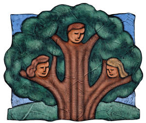 Photo - Family tree; heads of man and two women in branches
