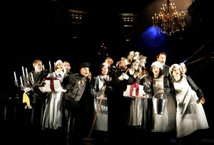 "photo -   FILE--In this photo from Saturday, Sept. 18, 2006, ensemble members perform during a dress rehearsal for the musical ""Rebecca"" at Vienna's Raimund Theatre. The play's Broadway production in New York collapsed this week, launching a FBI fraud investigation of the circumstances. (AP Photo/Stephan Tirerenberg, File)"