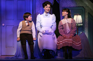 "Photo - FILE - This file theater publicity image provided by Disney Theatricals shows, from left, Neil McCaffrey, Scarlett Strallen and Cassady Leonard in a scene from ""Mary Poppins,"" in New York. The six-year old musical will end performances in March at the New Amsterdam Theatre and eventually be replaced by a musical adapted from the film ""Aladdin."" (AP Photo/Disney Theatricals, Joan Marcus)"