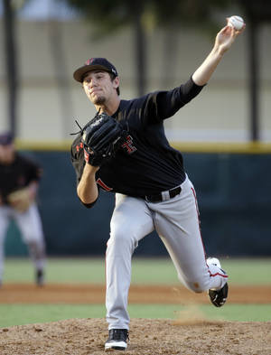 Photo - Texas Tech pitcher Dylan Dusek throws in the second inning against Miami during an NCAA college baseball regional tournament in Coral Gables, Fla., Saturday, May 31, 2014. (AP Photo/Lynne Sladky)