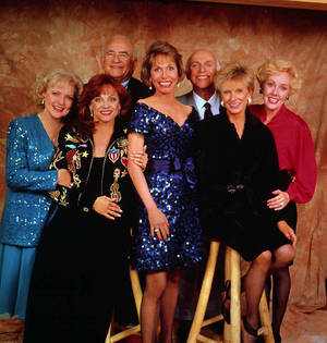 "Photo - FILE - This undated handout publicity photo shows, from left, Betty White, Valerie Harper, Ed Asner, Mary Tyler Moore, Gavin MacLeod, Cloris Leachman and Georgia Engel, the original cast of the ""Mary Tyler Moore Show.""  White reunites with her former co-stars, Mary Tyler Moore, Cloris Leachman, Georgia Engel and Valerie Harper for an upcoming episode of  ""Hot in Cleveland."" (AP Photo, File)"
