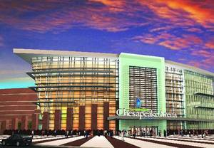 photo - This is an artist's rendering of what the entrance to the Chesapeake Energy Arena in downtown Oklahoma City may look like after the new signage is added. <strong>Illustration provided - Illustration provided</strong>
