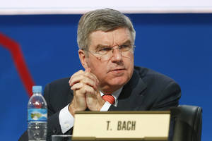 Photo - Thomas Bach, vice president of the International Olympic Committee (IOC), attends a report session during the 125th IOC session in Buenos Aires, Argentina,  Monday, Sept. 9, 2013. (AP Photo/Victor R. Caivano)