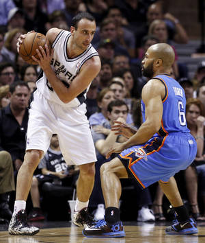 Photo - Oklahoma City's Derek Fisher (6) defends San Antonio's Manu Ginobili (20) during Game 5 of the Western Conference Finals in the NBA playoffs between the Oklahoma City Thunder and the San Antonio Spurs at the AT&T Center in San Antonio, Thursday, May 29, 2014. Photo by Sarah Phipps, The Oklahoman