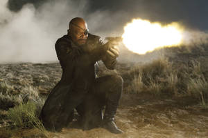 "Photo -   In this film image released by Disney, Samuel L. Jackson portrays Nick Fury in a scene from Marvel's ""The Avengers."" The film will be released on May 4. (AP Photo/Disney, Zade Rosenthal)"