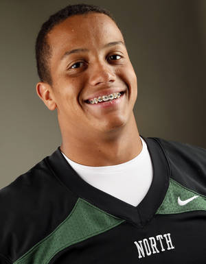 photo - HIGH SCHOOL FOOTBALL / MUG: Norman North football player Jordan Evans poses for a photo during The Oklahoman&#039;s Fall High School Sports Photo Day in Oklahoma City, Wednesday, Aug. 15, 2012. Photo by Nate Billings, The Oklahoman