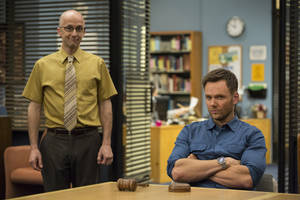 "Photo - This photo released by NVC shows, Jim Rash, left, as Dean Pelton, and Joel McHale as Jeff Winger, in a scene from season 5 of ""Community."" Yahoo says that it's giving the sitcom ""Community"" a sixth season online. Yahoo and Sony Picture Television announced Monday, June 30, 2014, that the show's creator, Dan Harmon, will serve as an executive producer for 13 new episodes.(AP Photo/NBC, Justin Lubin)"