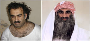 Photo -   At left a March 1, 2003 photo obtained by the Associated Press shows Khalid Sheikh Mohammed, the alleged Sept. 11 mastermind, shortly after his capture during a raid in Pakistan. At right, a photo downloaded from the Arabic language Internet site www.muslm.net and purporting to show a man identified by the Internet site as Khalid Sheik Mohammed, the accused mastermind of the Sep. 11 attacks, is seen in detention at Guantanamo Bay, Cuba. The picture was allegedly taken in July 2009 by the International Committee of the Red Cross (ICRC) and released only to the detainee's family under a new policy allowing the ICRC to photograph Guantanamo inmates, ICRC spokesman Bernard Barrett said Wednesday, Sept. 9, 2009. Five men accused of orchestrating the Sept. 11 attacks, including the self-proclaimed mastermind, are headed back to a military tribunal at Guantanamo Bay more than three years after President Barack Obama put the case on hold in a failed effort to move the proceedings to a civilian court and close the prison at the U.S. base in Cuba. (AP Photo/www.muslm.net)