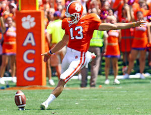 photo -   Clemson's Spencer Benton kicks off in the first half of an NCAA college football game against Ball State on Saturday, Sept. 8, 2012 in Clemson, S.C. Benton kicked a 61-yard field goal at the end of the first half to set a school and Atlantic Coast Conference record. (AP Photo/Anderson Independent-Mail, Mark Crammer) GREENVILLE NEWS - OUT; SENECA JOURNAL - OUT