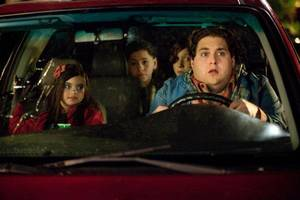 "Photo - From left, Landry Bender, Kevin Hernandez, Max Records and Jonah Hill are shown in a scene from ""The Sitter."" 20th CENTURY FOX PHOTO"
