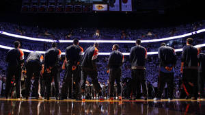 Photo - The Thunder line up before Game 3 of the NBA Finals between the Oklahoma City Thunder and the Miami Heat at American Airlines Arena, Sunday, June 17, 2012. Photo by Bryan Terry, The Oklahoman