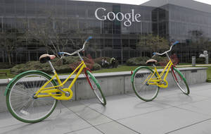 Photo -  Google bicycles are seen at the Google campus in Mountain View, Calif. AP Archives Photo  <strong>Jeff Chiu -  AP </strong>
