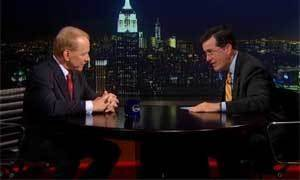 Photo - Screen image of Gary England with Stephen Colbert on The Colbert Report Wednesday, Sept. 4, 2013.
