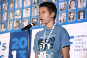 Photo - Shervin Tabatabai, 15, speaks at the recent 2013 Children's Congress in Washington, D.C. PROVIDED PHOTO TAKEN BY JUVENILE DIABETES RESEARCH FOUNDATION <strong>Larry Lettera/ Camera 1</strong>