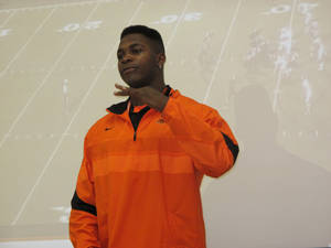 Photo - OSU signee Jeremiah Tshimanga address the crowd gathered for his signing ceremony earlier this month. PHOTO  BY GINA MIZELL, The Oklahoman