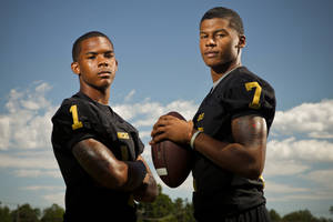 Photo - Midwest City's Ricky Reeves, left, and Ronnie Davis are expected to man the cornerback positions. The Bombers went unbeaten in the regular season last year before falling to Westmoore in the playoffs.Photo by Zach Gray, The Oklahoman