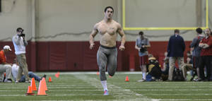 Photo - Vinnie Sunseri does the 40-yard dash during Alabama football's second 2014 pro day, Tuesday, April 8, 2014, at the Hank Crisp Indoor Facility in Tuscaloosa, Ala.  (AP Photo/Alabama Media Group, Vasha Hunt) MAGS OUT