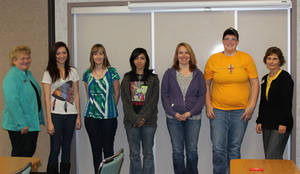 photo - Girl Tech students at Canadian Valley Technology Center are pictured with Oklahoma Career Information System for the Oklahoma Department of Career and Technology Education Director Jo Kahn, left. Students are, from left, Taylor White, of Mustang; Hayley Rader, of Yukon; Marina Mason, of Calumet; Candis Ryczkowski, of Mustang; and Baylee Sowards, of Yukon. Shelli Chipman, Canadian Valley's Girl Tech co-coordinator, is shown at right. Photo by Bill Kramer, for the Oklahoman