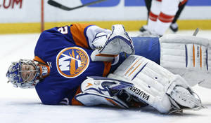 Photo - New York Islanders goalie Evgeni Nabokov (20), of Russia, stops a Detroit Red Wings shot in the second period of an NHL hockey game in Detroit, Monday, Dec. 23, 2013. (AP Photo/Paul Sancya)